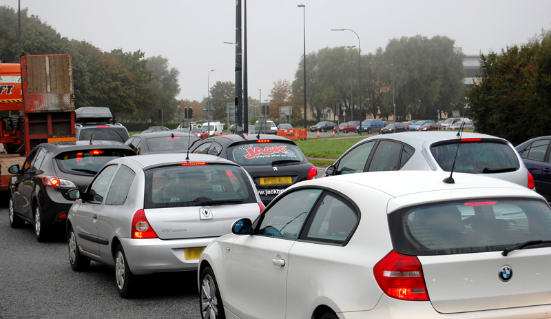 Traffic congestion at the Aztec West Roundabout on the A38 in north Bristol.