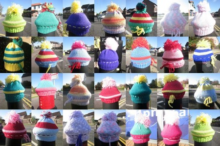Bradley Stoke yarn bombing: Collage of photos by Sara Messenger.