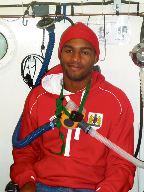 BCFC player Mark Little inside the oxygen chamber at the West of England MS Therapy Centre in Bradley Stoke.