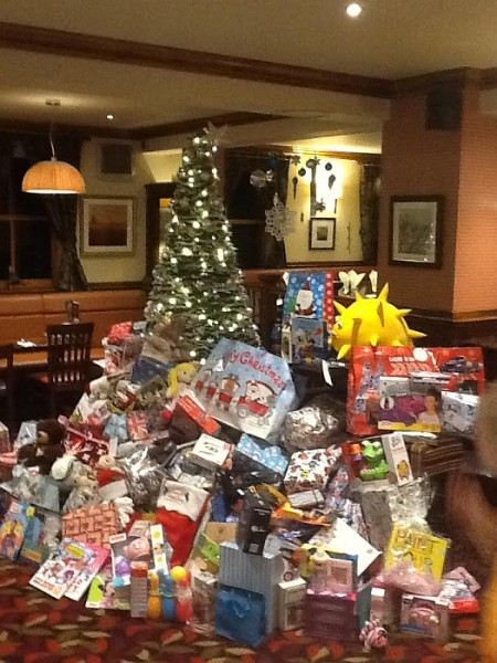 Christmas gifts for underprivileged children - donated by customers of Winter Stream Farm, Bristol.