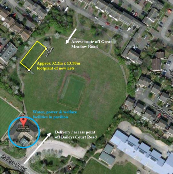 Site plan showing the location of proposed new practice nets at the Baileys Court cricket ground in Bradley Stoke.