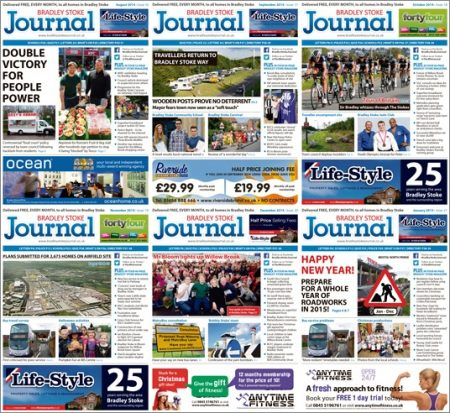 Bradley Stoke Journal magazine covers: Six issues to January 2015.