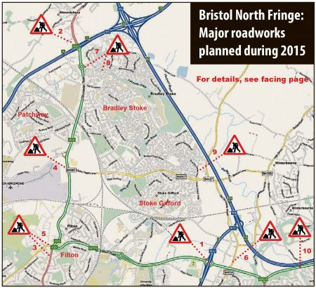 Bristol North Fringe Roadworks in 2015.
