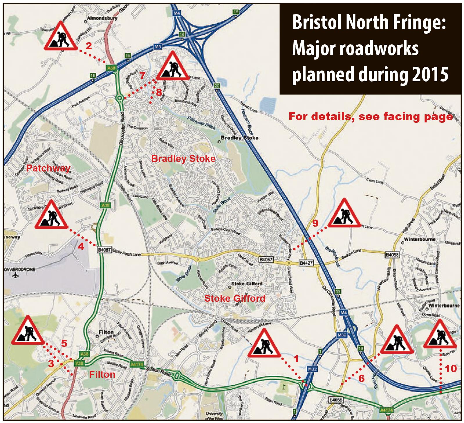 Bristol North Fringe Roadworks in 2015.