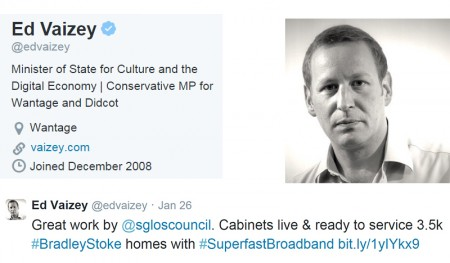 Ed Vaizey tweet that includes a link to a Bradley Stoke Journal article.