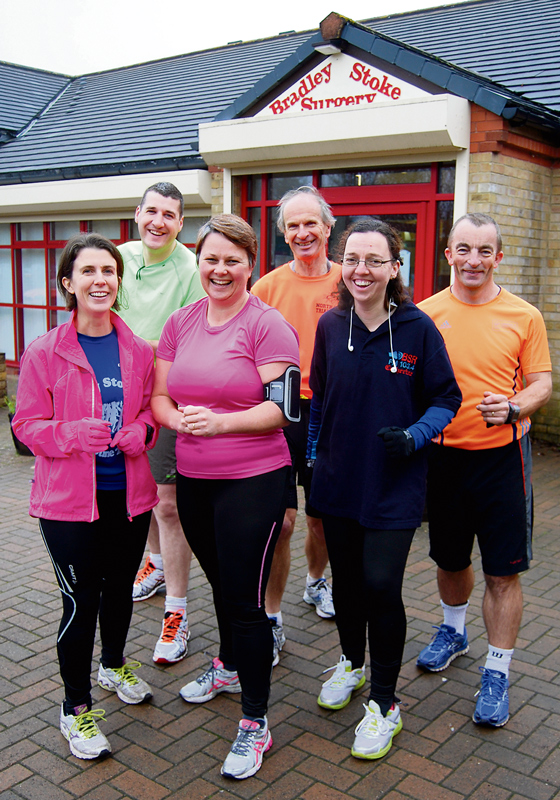 Participants in North Bristol Running Group's 'school run' prepare to set off from Bradley Stoke Surgery.