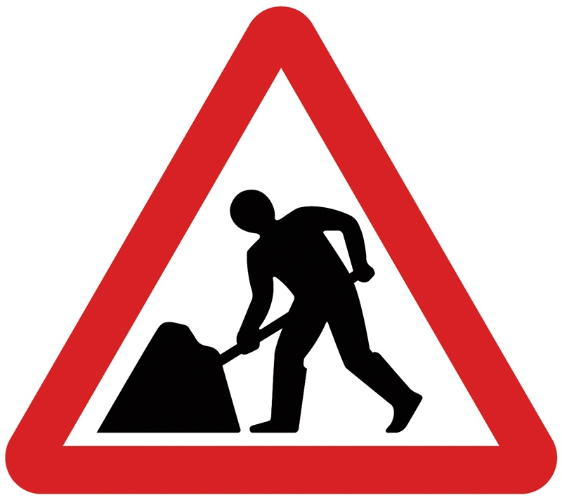 Roadworks sign.