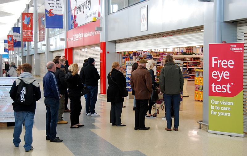 People queuing outside the Tesco Extra store in Bradley Stoke after it was was closed due to problems with electrical equipment following a power cut.