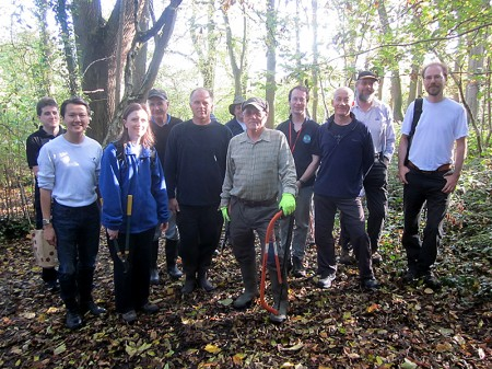 Volunteers at the Three Brooks Nature Conservation Group workday (November 2014) in Bradley Stoke, Bristol.