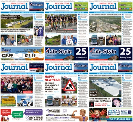 Bradley Stoke Journal magazine covers: Six issues to February 2015.
