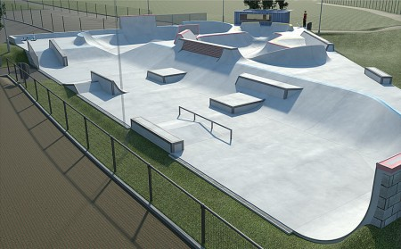Winning design for the new skate park at Bradley Stoke Leisure Centre. It will be located on a triangle of land north-east of the overflow car park (seen lower left),