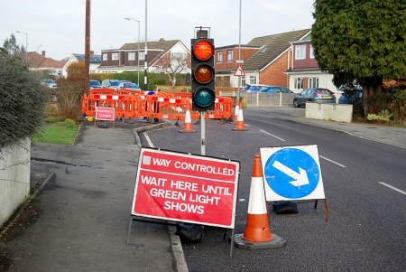 Temporary traffics lights on Stoke Lane, Stoke Lodge in January 2015.