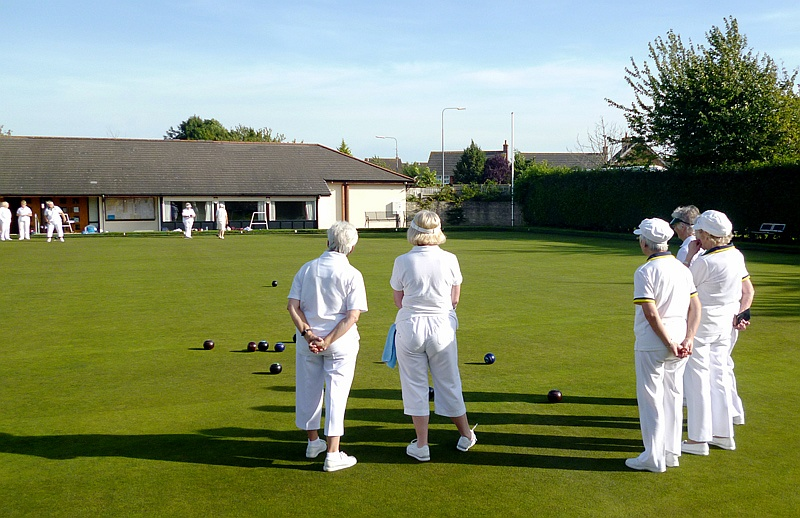 A game in progress at Bradley Stoke Bowls Club, Baileys Court, Bradley Stoke, Bristol.