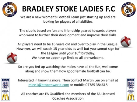 Poster advertising a new ladies' football team being formed in Bradley Stoke, Bristol.