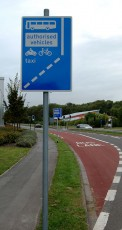 Bus lane and sign on Bradley Stoke Way.