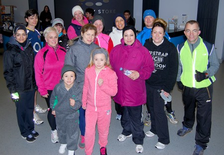 Participants of a North Bristol Running Group beginners' course prepare to set off on a run from Bradley Stoke Leisure Centre.