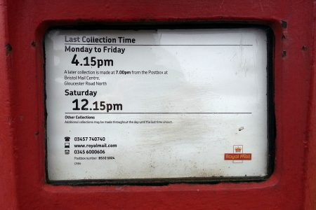 Collection times shown on a Royal Mail post box at Baileys Court, Bradley Stoke, Bristol.