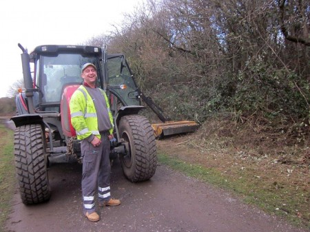 Lee, who has been flailing brambles alongside the paths in the Three Brooks Local Nature reserve, Bradley Stoke.