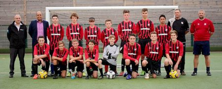 Bradley Stoke United FC Under-15 Blacks with representatives of their sponsor Volker Fitzpatrick.
