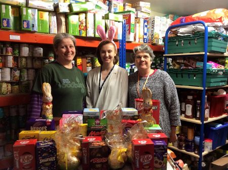 Active Centres Easter bunny delivering to North Bristol Foodbank.