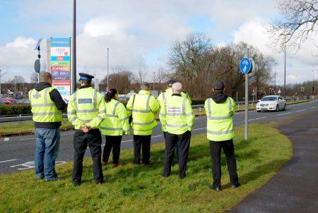 Community Speed Watch members in action on Bradley Stoke Way.