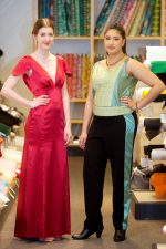 John Lewis sewing competition: BSCS students Chloe Lorenzi (left) and Simran Kaur model their prom outfits.