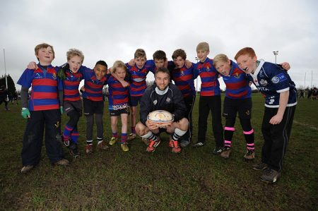 Bristol Rugby and Welsh international Ryan Jones gives young players at North Bristol Rugby Club the training session of a lifetime