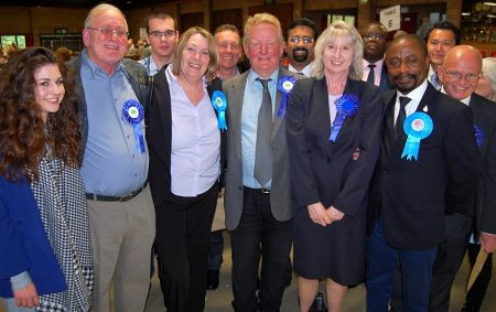 Bradley Stoke Conservative candidates and supporters at the 2015 local elections count in Thornbury.