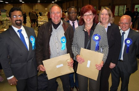 Brian Hopkinson and Sarah Pomfret (front, centre), winning candidates in the election for the Bradley Stoke Central & Stoke Lodge ward of South Gloucestershire Council.