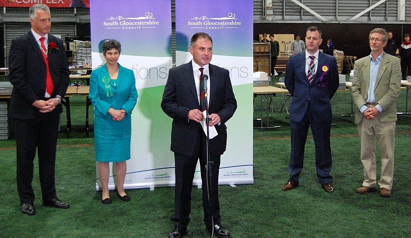 Jack Lopresti (centre) makes a speech after retaining the Filton and Bradley Stoke parliamentary seat in the 2015 general election.