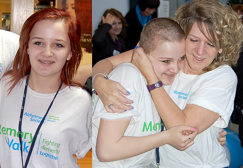 Kayleigh Smallcombe of Bradley Stoke, Bristol, who shaved her head to raise money for cancer and dementia charities, in memory of her late grandmother, Rose.