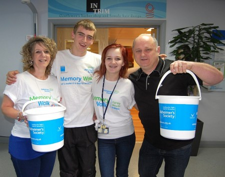 Kayleigh Smallcombe of Bradley Stoke, Bristol, has her head shaved to raise money for cancer and dementia charities, in memory of her late grandmother, Rose.