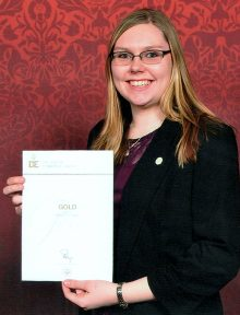 Mollie Lockett with her Duke of Edinburgh Gold Award certificate.