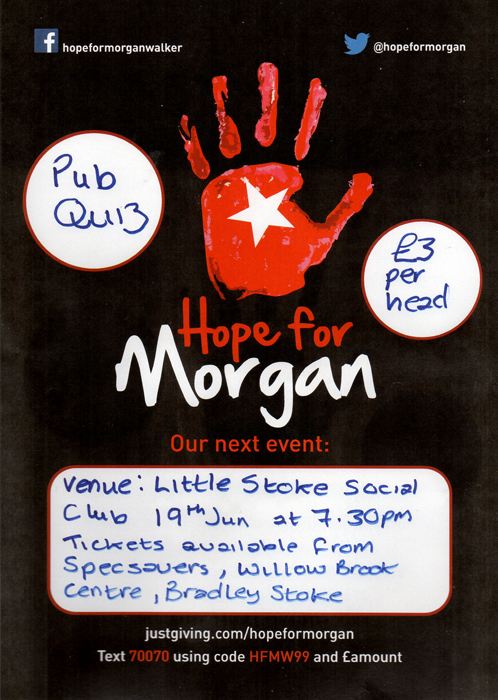Hope for Morgan quiz, organised by Specsavers bradley Stoke.