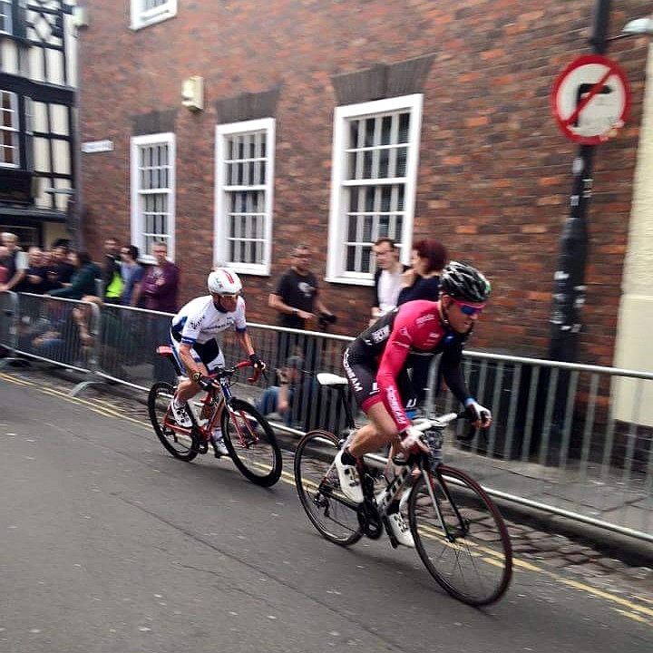 Malcolm Dixon (right) in action for the Dream Cycling team during the Bristol Grand Prix on Saturday 20th June 2015.