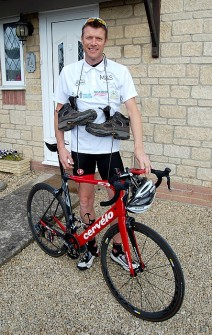 Steve Hewitt of Bradley Stoke, Bristol: Training hard for the Five Peaks by Bike & Hike challenge.
