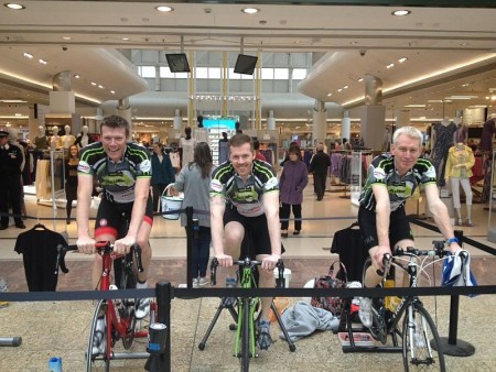 Steve Hewitt (left) training outside the Marks and Spencer store at Cribbs Causeway.