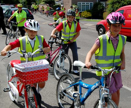 A group of Baileys Court Primary School pupils prepare to cycle to Bradley Stoke Community School.