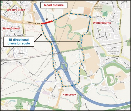 Map showing diversion route in force during the closure of Beacon Lane for bridge repairs.