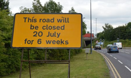 Road closure sign on the B4057, near the junction of Beacon Lane, Winterbourne Road and Old Gloucester Road.