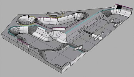 Visualisation of a proposed new skate park at Bradley Stoke Leisure Centre.