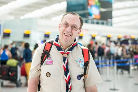 David Owen, a Scout leader from Bradley Stoke, preapres to fly out to the 23rd World Scout Jamboree in Japan.