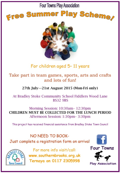 Four Towns Play Association Free Summer Play Scheme 2015 in Bradley Stoke.