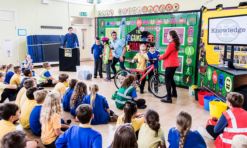 Pupils at Stoke Lodge Primary School take part in the 'Game of Chance' road safety show.