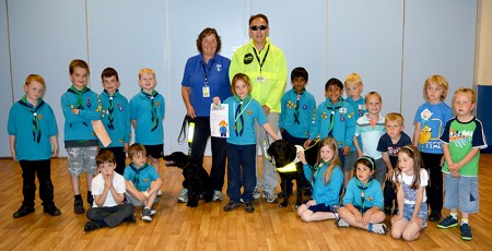 Representatives of Guide Dogs with the 1st Bradley Stoke Beavers.