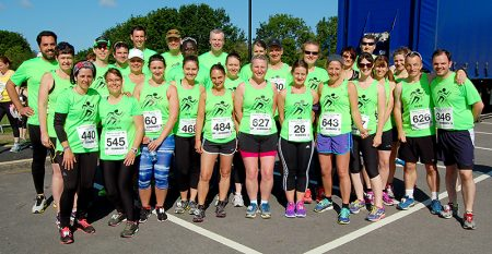 Members of North Bristol Running Group prior to the start of the Bradley Stoke 10k Run on Sunday 7th June.