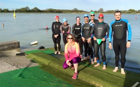Members of North Bristol Triathlon Club at an open water swim session