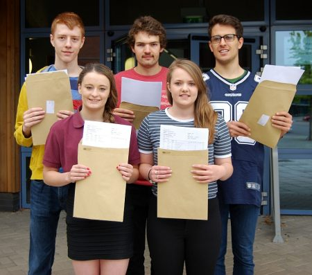 Top-achieving A-level students at Bradley Stoke Community School (l-r): Joe Stephenson, Catherine Lanyon, Peter Smyth, Gemma Jones and Josh Machado.