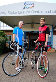 Nick Groves (left) and Simon Ward, entrants in the Active Triathlon, which takes place in Bradley Stoke on 30th August 2015.