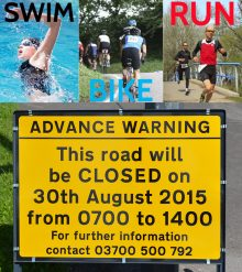Bradley Stoke Sprint Triathlon 2015 - road closure sign.